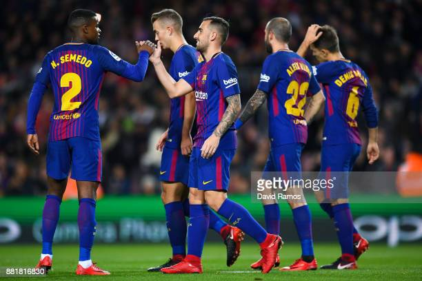 Paco Alcacer of FC Barcelona celebrates after scoring his team's first goal during the Copa del Rey round of 32 second leg match between FC Barcelona...