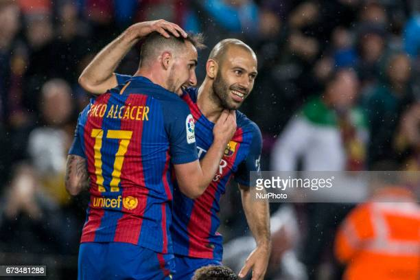 Paco Alcacer of FC Barcelona celebrating his goal with Javier Mascherano during the Spanish championship Liga football match between FC Barcelona vs...