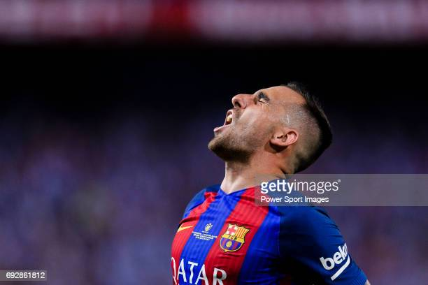 Paco Alcacer of FC Barcelona celebrating his score during the Copa Del Rey Final between FC Barcelona and Deportivo Alaves at Vicente Calderon...
