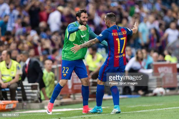 Paco Alcacer of FC Barcelona celebrating his score with Aleix Vidal of FC Barcelona during the Copa Del Rey Final between FC Barcelona and Deportivo...