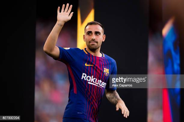 Paco Alcacer of FC Barcelona enters the pitch ahead of the Joan Gamper Trophy match between FC Barcelona and Chapecoense at Camp Nou stadium on...