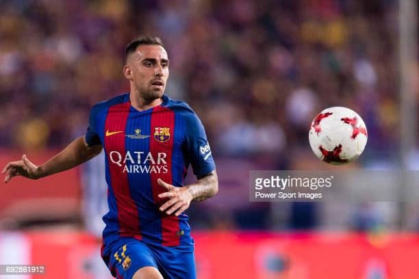 Paco Alcacer of FC Barcelona in action during the Copa Del Rey Final between FC Barcelona and Deportivo Alaves at Vicente Calderon Stadium on May 27...