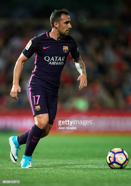 Paco Alcacer of FC Barcelona in action during the La Liga match between Granada CF v FC Barcelona at Estadio Nuevo Los Carmenes on April 02 2017 in...