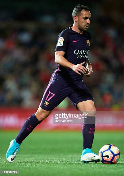 Paco Alcacer of FC Barcelona in action during the La Liga match between Granada CF v FC Barcelona at Estadio Nuevo Los Carmenes on April 02 2017 in...