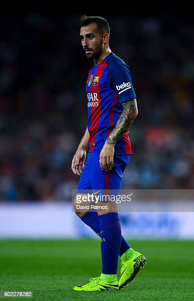 Paco Alcacer of FC Barcelona looks on during the La Liga match between FC Barcelona and Deportivo Alaves at Camp Nou stadium on September 10 2016 in...