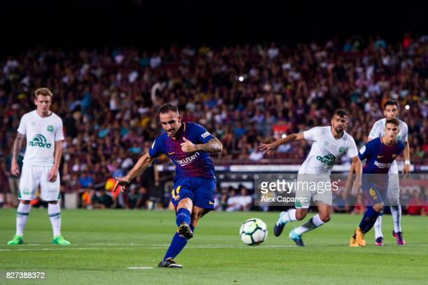 Paco Alcacer of FC Barcelona misses a penalty shot during the Joan Gamper Trophy match between FC Barcelona and Chapecoense at Camp Nou stadium on...