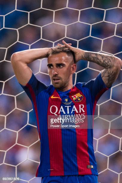 Paco Alcacer of FC Barcelona reacts during the Copa Del Rey Final between FC Barcelona and Deportivo Alaves at Vicente Calderon Stadium on May 27...