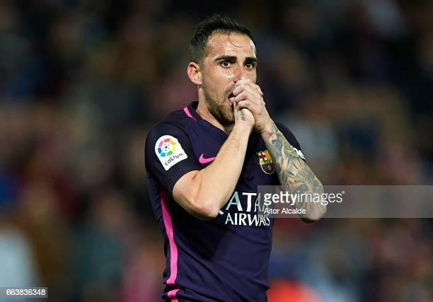 Paco Alcacer of FC Barcelona reacts during the La Liga match between Granada CF v FC Barcelona at Estadio Nuevo Los Carmenes on April 02 2017 in...