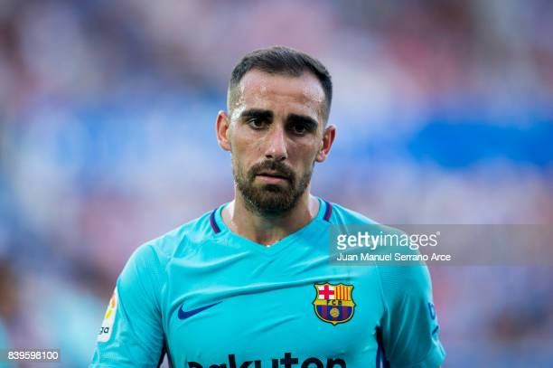 Paco Alcacer of FC Barcelona reacts during the La Liga match between Deportivo Alaves and Barcelona at Estadio de Mendizorroza on August 26 2017 in...