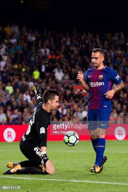 Paco Alcacer of FC Barcelona reacts next to goalkeeper Andres Prieto of Malaga CF during the La Liga match between Barcelona and Malaga at Camp Nou...
