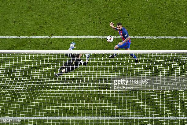 Paco Alcacer of FC Barcelona scores his team's fifth goal during the Copa del Rey round of 32 second leg match between FC Barcelona and Hercules at...