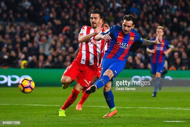 Paco Alcacer of FC Barcelona scores his team's fourth goal during the La Liga match between FC Barcelona and Real Sporting de Gijon at Camp Nou...