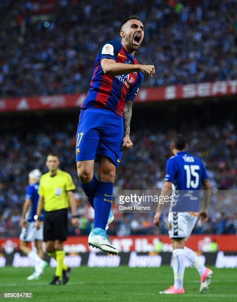 Paco Alcacer of FC Barcelona scores his team's third goal during the Copa Del Rey Final between FC Barcelona and Deportivo Alaves at Vicente Calderon...