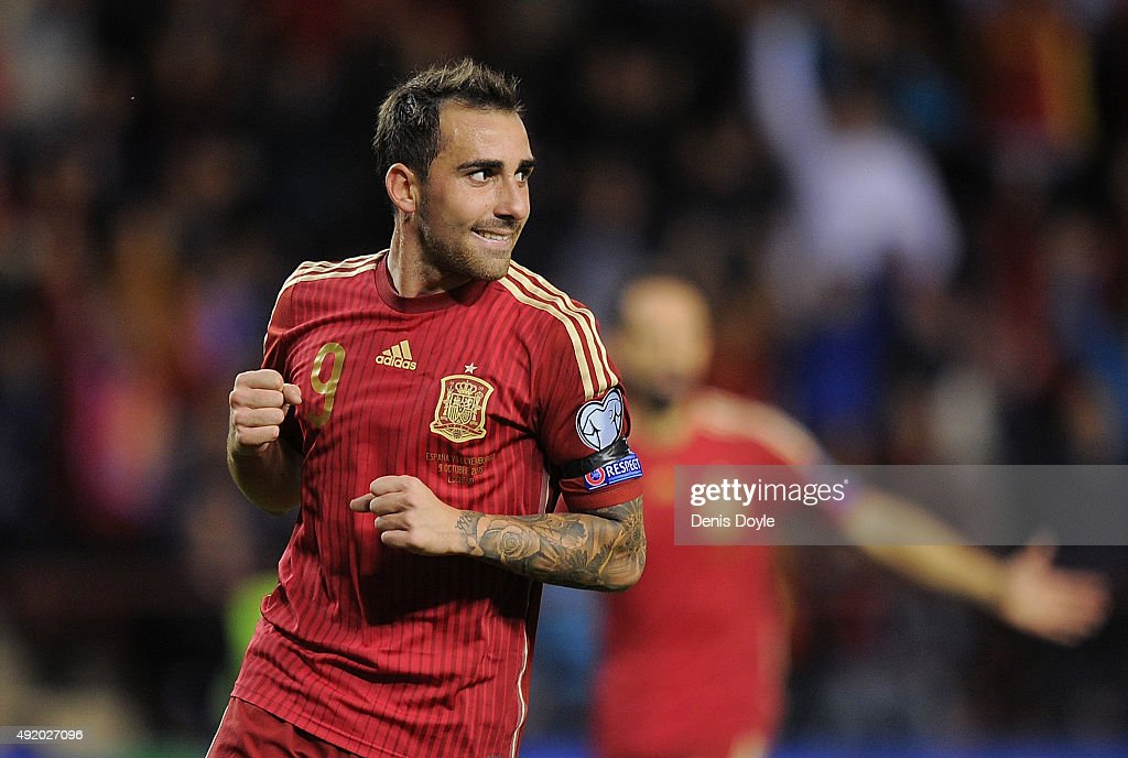 Paco Alcacer of Spain celebrates after scoring his team's 2nd goal during the UEFA EURO 2016 Qualifier group C match between Spain and Luxembourg at Estadio Municipal Las Gaunas on October 9, 2015 in Logrono, Spain.