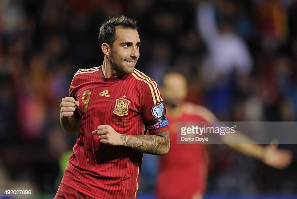 Paco Alcacer of Spain celebrates after scoring his team's 2nd goal during the UEFA EURO 2016 Qualifier group C match between Spain and Luxembourg at...