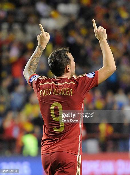 Paco Alcacer of Spain celebrates after scoring his team's 3rd goal during the UEFA EURO 2016 Qualifier group C match between Spain and Luxembourg at...