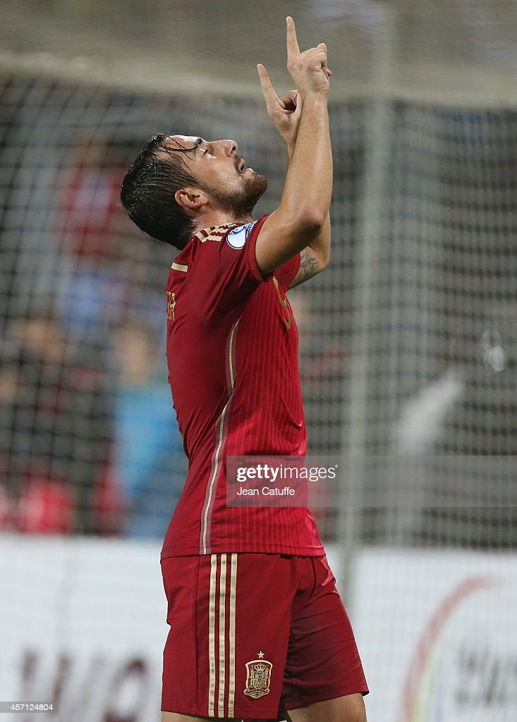 Paco Alcacer of Spain celebrates his goal during the Euro 2016 qualifier match between Luxembourg and Spain at Stade Josy Barthel stadium on October 12, 2014 in Luxembourg.