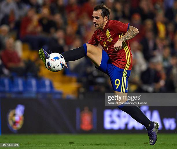 Paco Alcacer of Spain controls the ball during the international friendly match between Spain and England at Jose Rico Perez Stadium on November 13...
