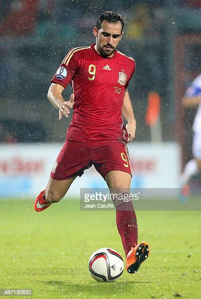 Paco Alcacer of Spain in action during the Euro 2016 qualifier match between Luxembourg and Spain at Stade Josy Barthel stadium on October 12 2014 in...