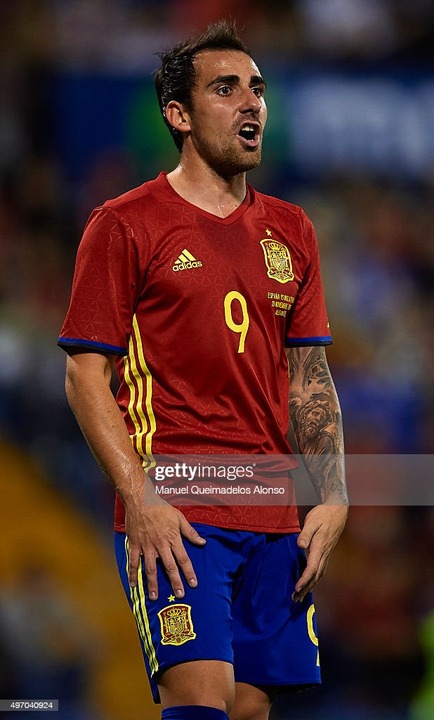 Paco Alcacer of Spain reacts during the international friendly match between Spain and England at Jose Rico Perez Stadium on November 13, 2015 in Alicante, Spain.