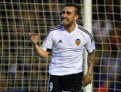 Paco Alcacer of Valencia celebrates scoring his team's second goal during the La Liga match between Valencia CF and Real Madrid CF at Estadi de...