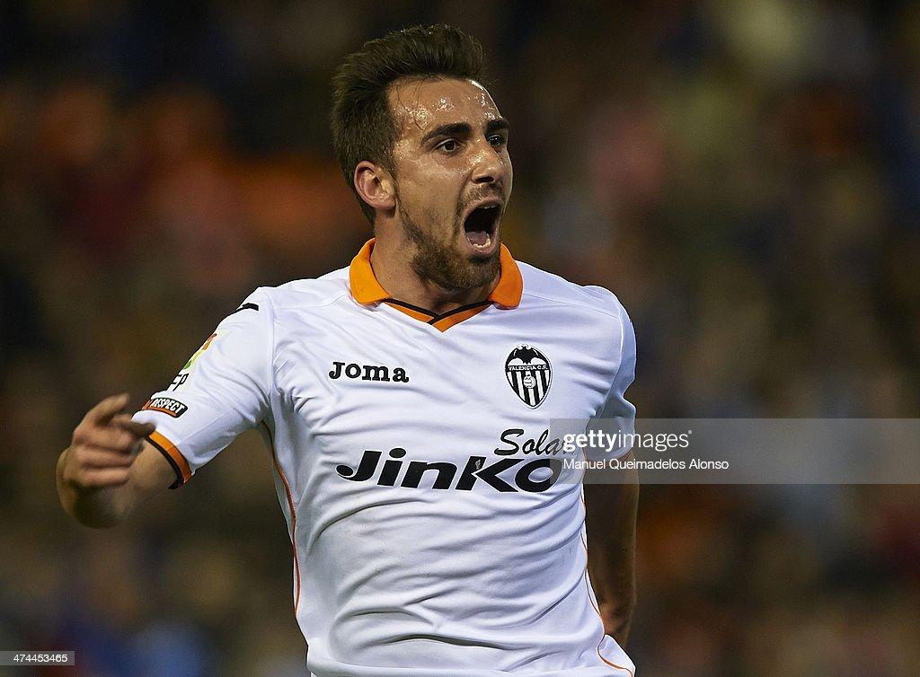 Paco Alcacer of Valencia CF celebrates after scoring during the La Liga match between Valencia CF and Granada CF at Estadio Mestalla on February 23, 2014 in Valencia, Spain.