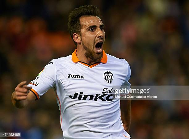 Paco Alcacer of Valencia CF celebrates after scoring during the La Liga match between Valencia CF and Granada CF at Estadio Mestalla on February 23...