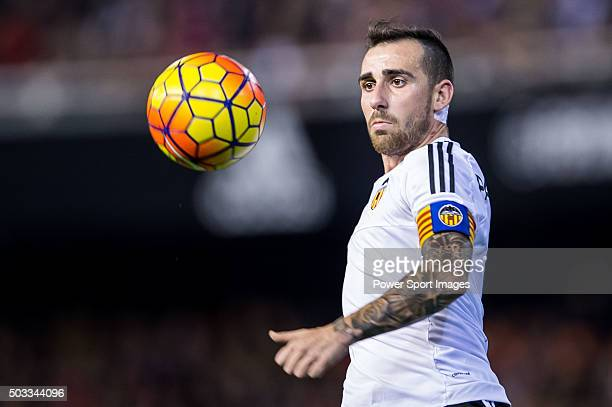 Paco Alcacer of Valencia CF in action during the Valencia CF vs Real Madrid CF as part of the Liga BBVA 20152016 at Estadi de Mestalla on January 3...