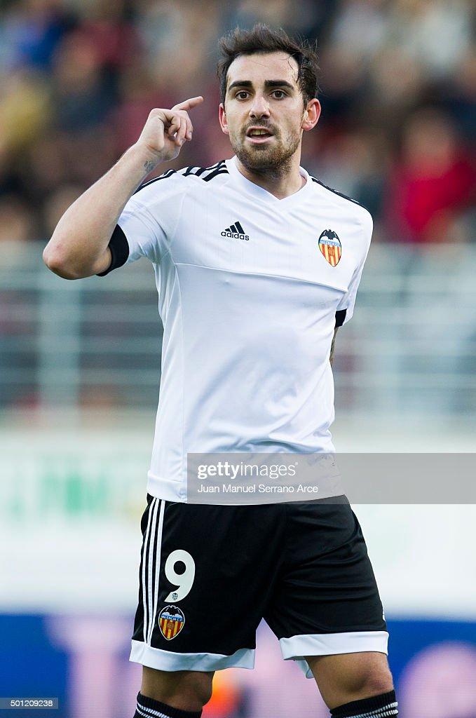 Paco Alcacer of Valencia CF reacts during the La Liga match between SD Eibar and Valencia CF at Ipurua Municipal Stadium on December 13, 2015 in Eibar, Spain.