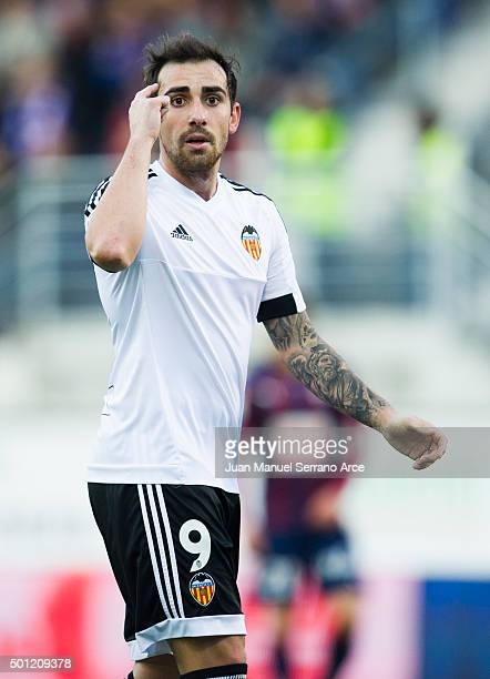 Paco Alcacer of Valencia CF reacts during the La Liga match between SD Eibar and Valencia CF at Ipurua Municipal Stadium on December 13 2015 in Eibar...
