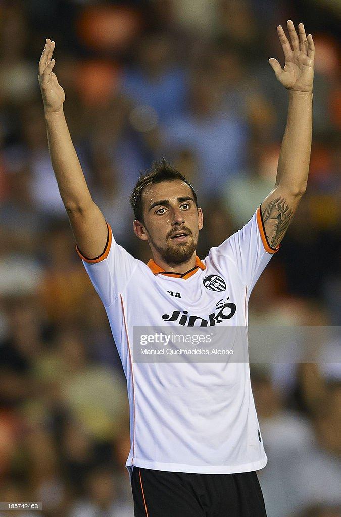 Paco Alcacer of Valencia CF reacts during the UEFA Europa League Group A match between Valencia CF and SFC St Gallen at Estadi de Mestalla on October 24, 2013 in Valencia, Spain.