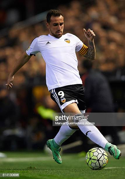 Paco Alcacer of Valencia controls the ball during the La Liga match between Valencia CF and Atletico de Madrid at Estadi de Mestalla on March 06 2016...