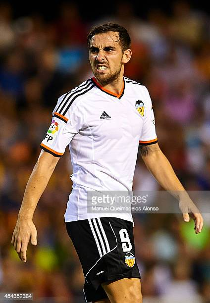Paco Alcacer of Valencia reacts during the La Liga match between Valencia CF and Malaga CF at Estadi de Mestalla on August 29 2014 in Valencia Spain