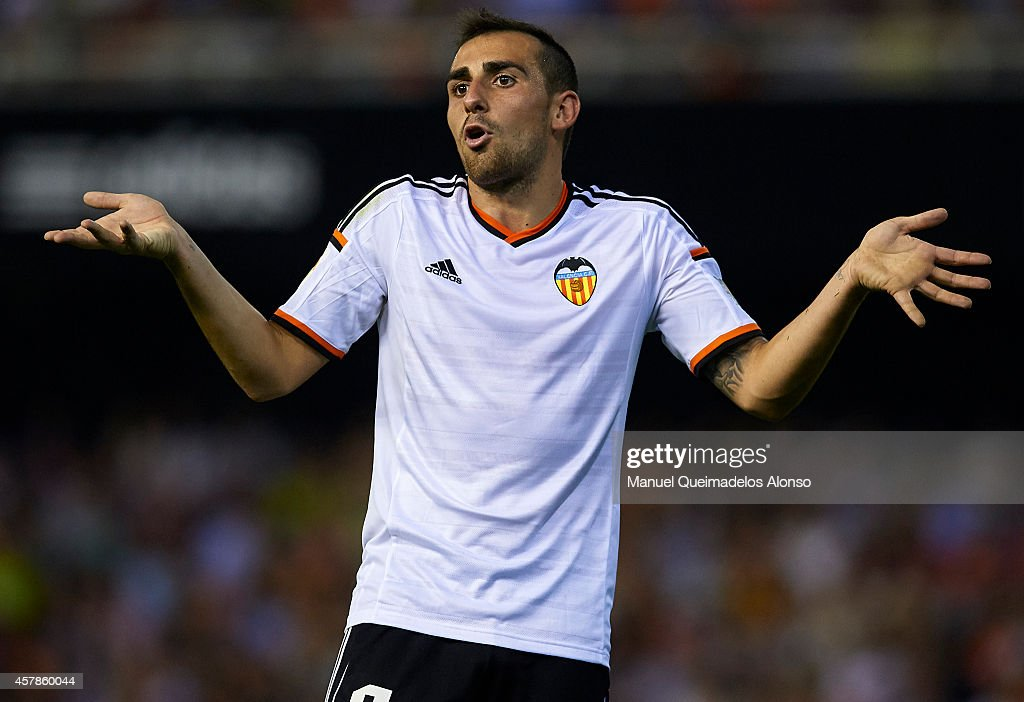 Paco Alcacer of Valencia reacts during the La Liga match between Valencia CF and Elche CF at Estadio Mestalla on October 25, 2014 in Valencia, Spain.