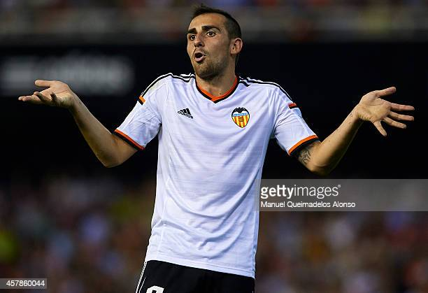 Paco Alcacer of Valencia reacts during the La Liga match between Valencia CF and Elche CF at Estadio Mestalla on October 25 2014 in Valencia Spain
