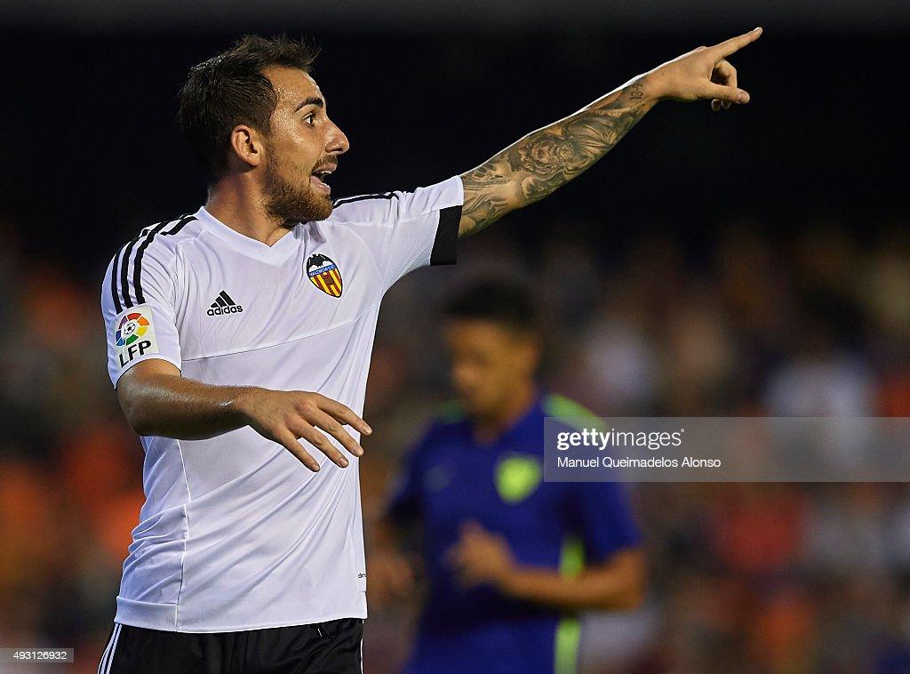 Paco Alcacer of Valencia reacts during the La Liga match between Valencia CF and Malaga CF at Estadi de Mestalla on October 17, 2015 in Valencia, Spain.