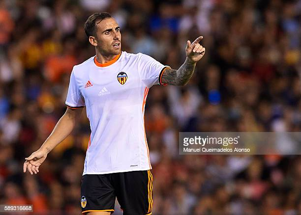 Paco Alcacer of Valencia reacts during the preseason friendly match between Valencia CF and AC Fiorentina at Estadio Mestalla on August 13 2016 in...