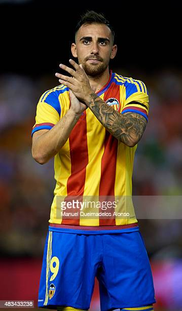 Paco Alcacer of Valencia waves prior to the preseason friendly match between Valencia CF and AS Roma at Estadio Mestalla on August 8 2015 in Valencia...