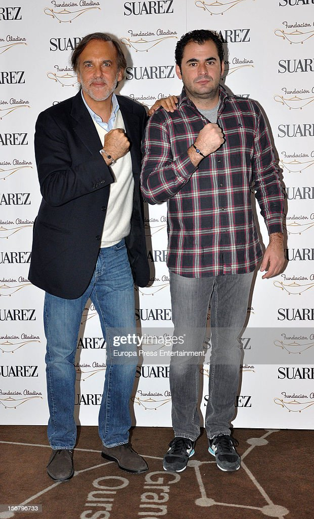 Paco Arango (L) and Emiliano Suarez attend the presentation of the charity bracelet by Suarez and Aladina Foundation on November 20, 2012 in Madrid, Spain.