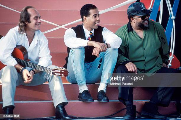 Paco De Lucia Stanley Clarke and George Duke backstage in Seville Spain 1991