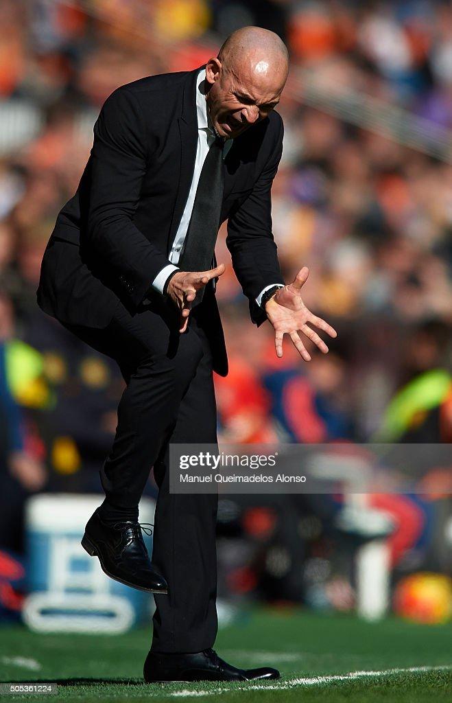 Paco Jemez manager of Rayo Vallecano reacts during the La Liga match between Valencia CF and Rayo Vallecano at Estadi de Mestalla on January 17 2016...