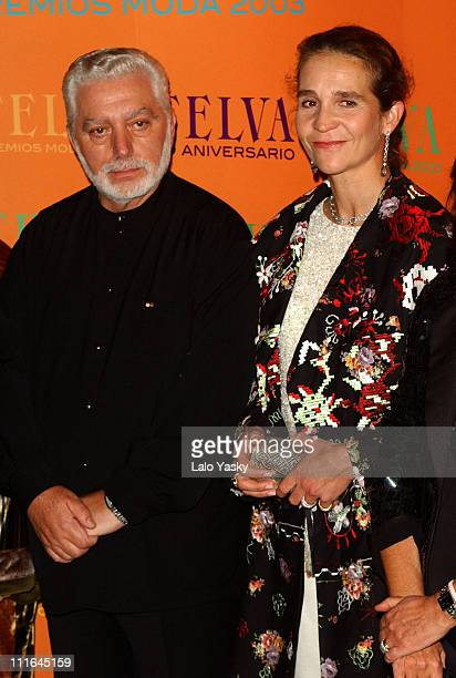 Paco Rabanne and Infanta Elena of Spain during Paco Rabanne Honored at 2003 Edition of Telva Magazine Fashion Awards at Palace Hotel in Madrid Spain
