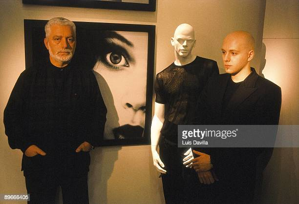 Paco Rabanne in his studio at Paris The designer and a collaborator beside a mannequin dressed with Rabanne´s clothes