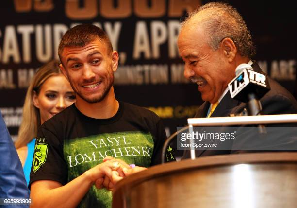 Paco Valcarcel presents Super Featherweight boxer Vasyl Lomachenko with a ring during a Top Rank Championship Boxing Press Conference on April 06 at...