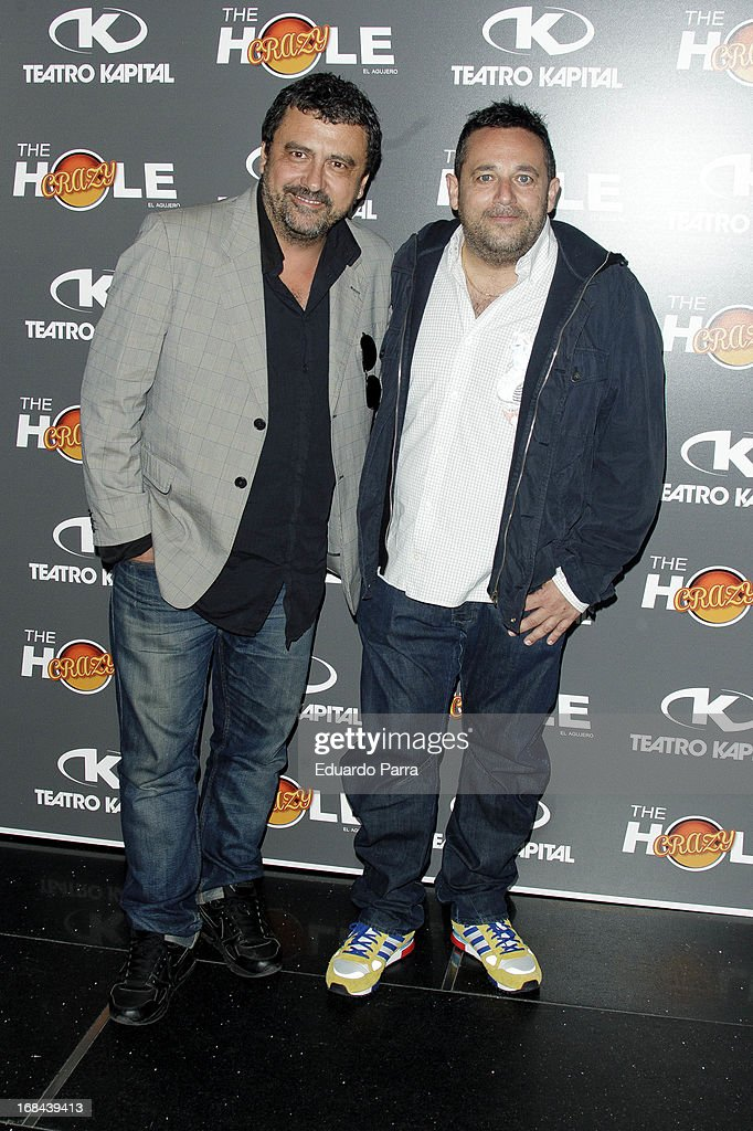 Pacto Tous (L) and Pepon Nieto attend 'The crazy hole' premiere photocall at Kapital theatre on May 9, 2013 in Madrid, Spain.