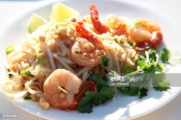 Pad Thai noodle and shrimp dish