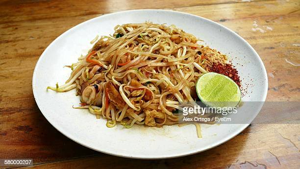 Pad Thai Served In Plate On Table