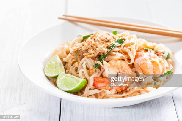 Pad Thai Stir Fried Asian Noodles With Shrimp, Egg, Tofu And Bean Sprouts