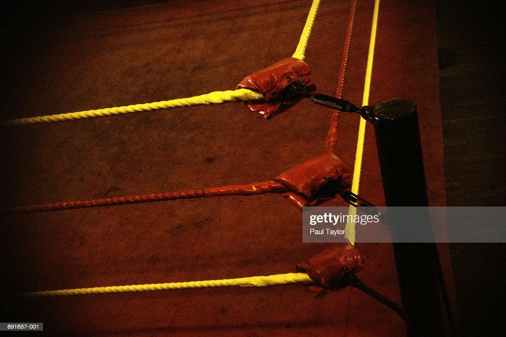 Padded corner of wrestling ring : Stock Photo
