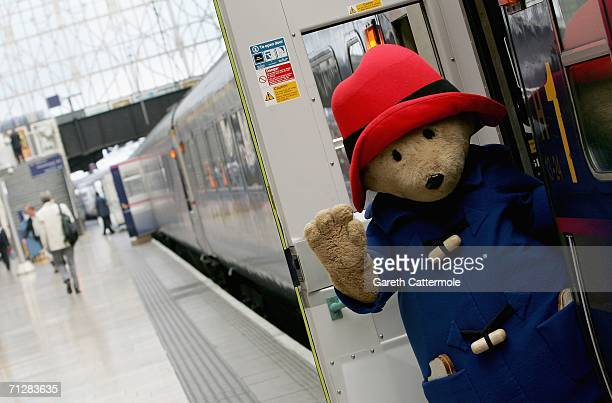 Paddington Bear arrives at Paddington Station on his way to the children's literature event at Buckingham Palace on June 23 2006 in London England